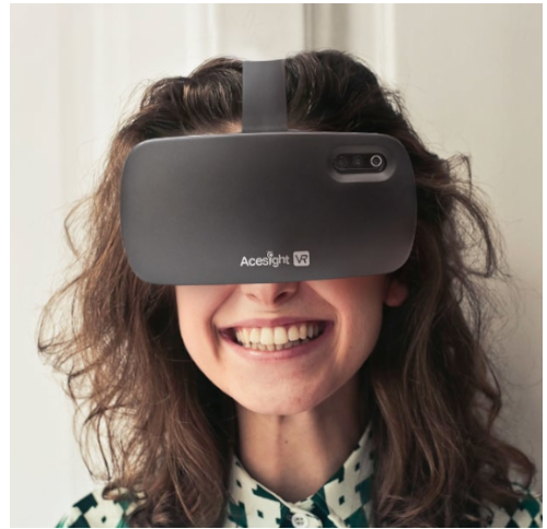 Acesight VR on womans face
