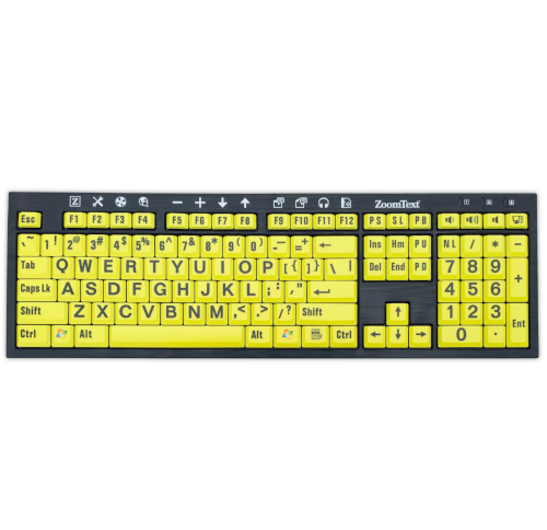 ZoomText Large-Print Keyboard Yellow